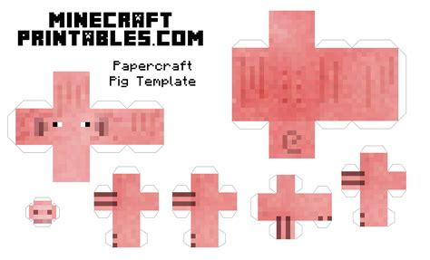 Print Out Minecraft Papercraft - free printable minecraft pig papercraft template print