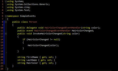 tutorial c classes simple exle of delegates and events in c sharp 171 ian net