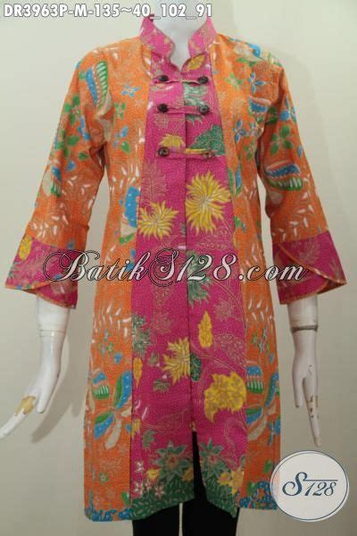 Dress Kancing Depan by Dress Batik Kerah Shanghai Dengan Variasi Kancing Depan