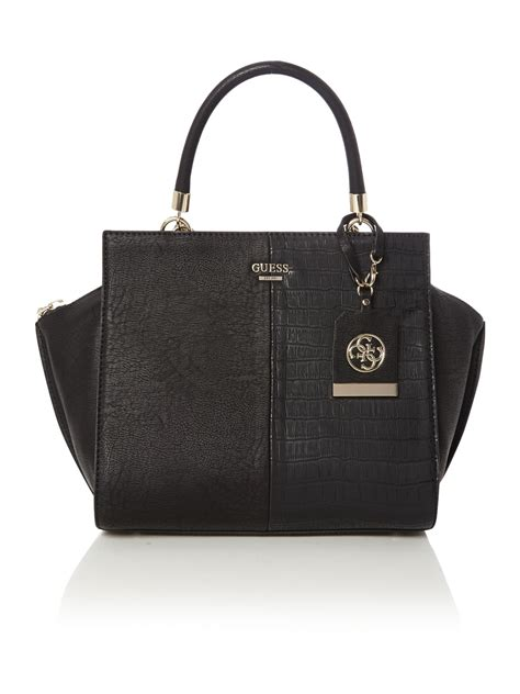Guess Bag guess casey black winged tote bag in black lyst