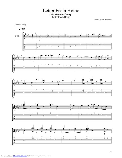 Letter Seventeen Chords Letter From Home Guitar Pro Tab By Pat Metheny Musicnoteslib