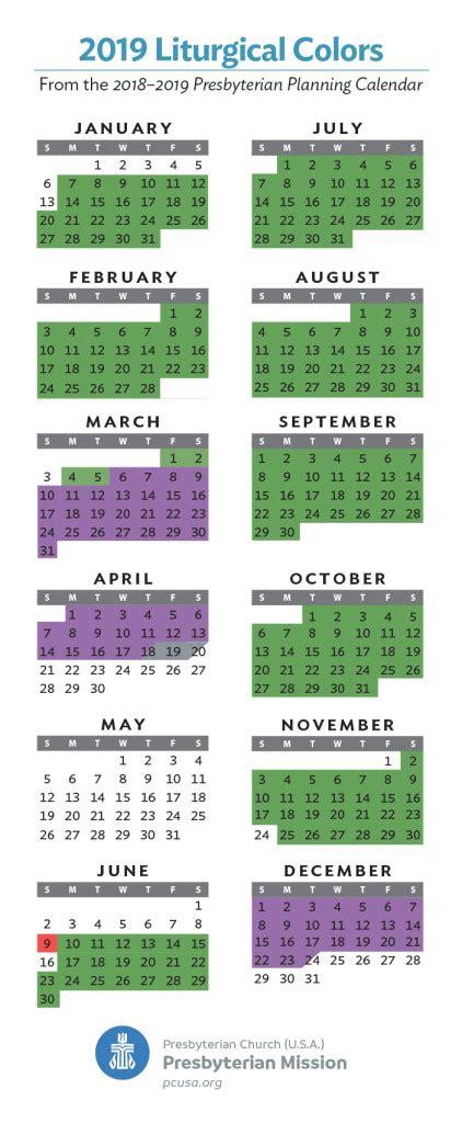 liturgical calendar colors 2019 liturgical colors presbytery of st augustine