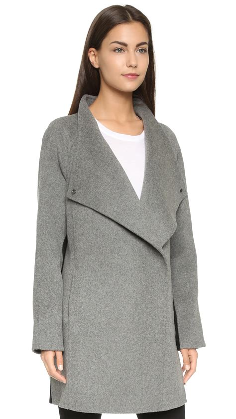 Sweater Tone You vince two tone sweater coat charcoal melange black in