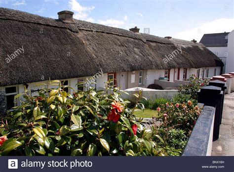 Waterford Cottages by Ireland Waterford Dunmore East Thatched Cottages Stock