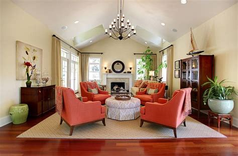 Coral Color Living Room by Traditional Living Room With Coral Colored Comfy Chairs