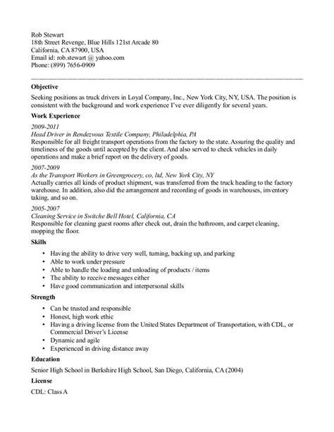 truck driver resume template truck driver resume sample resume