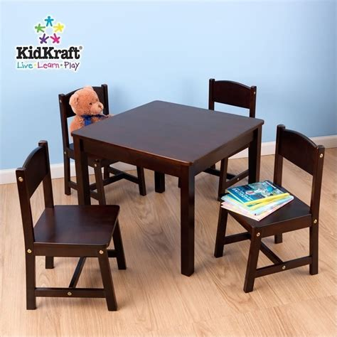 kidkraft farmhouse table 4 chairs 21421 kidkraft farmhouse table and four chairs in espresso 21453