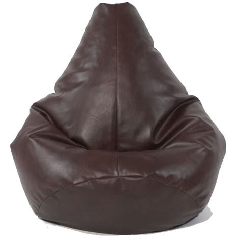medium highback brown faux leather bean bag chair