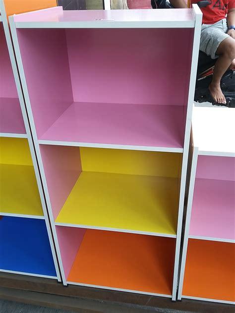 Rak Buku Partikel jual lemari kayu partikel 3 tingkat warna warni tanpa