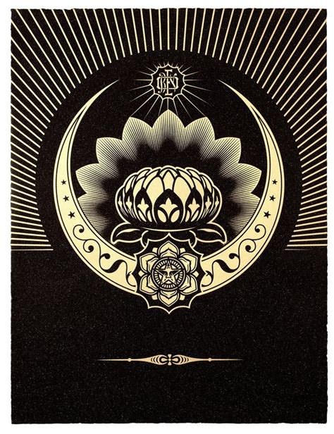 Obey Black Gold White shepard fairey artist bio and for sale artspace