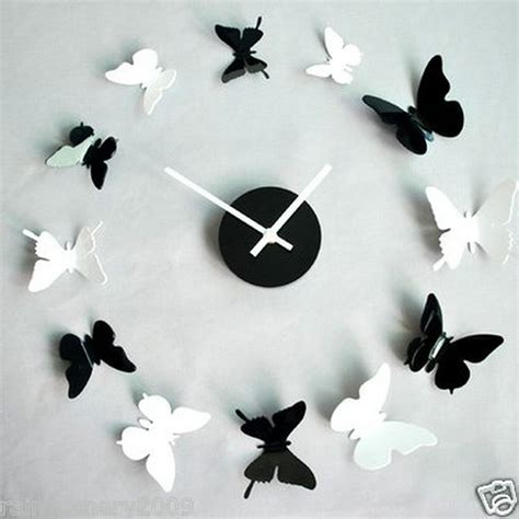 black white 3d butterfly wall sticker home room nursery