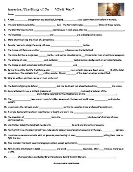 America The Story Of Us Civil War Worksheet