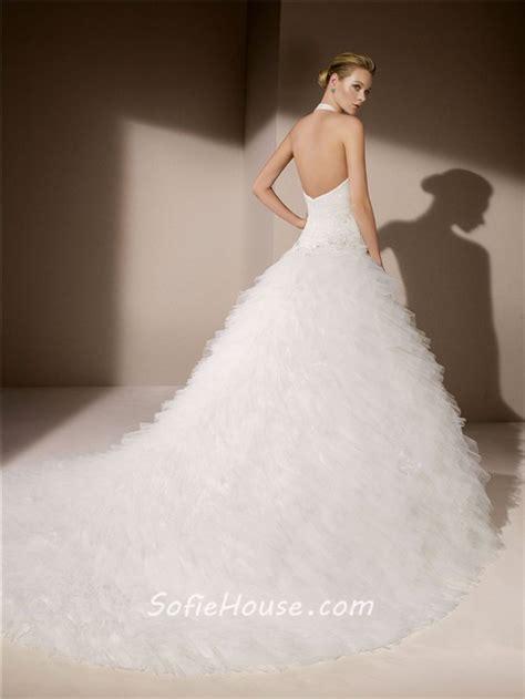 Besondere Hochzeitskleider by Gown Halter Sweetheart Neckline Low Back Tiered