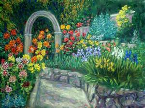 Flower Garden Paintings Quot Dahlia And Iris Garden Quot Flower Garden Paintings And Prints By Paulb
