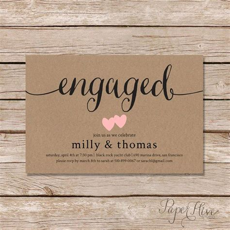 engagement party invitation rustic couples shower