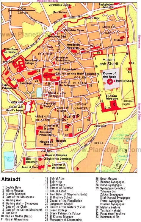 jerusalem map 20 top tourist attractions in jerusalem planetware