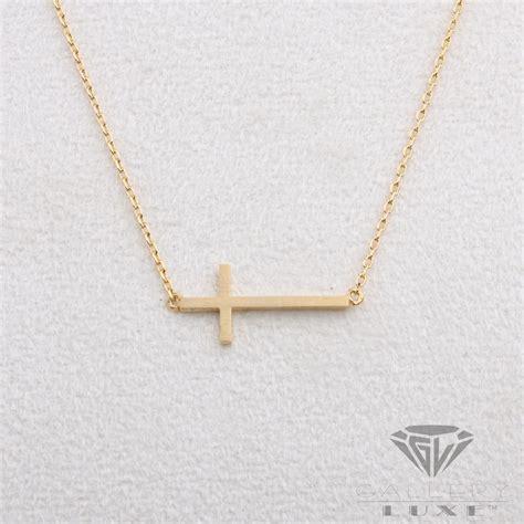 matt gold color horizontal cross pendant crucifix necklace