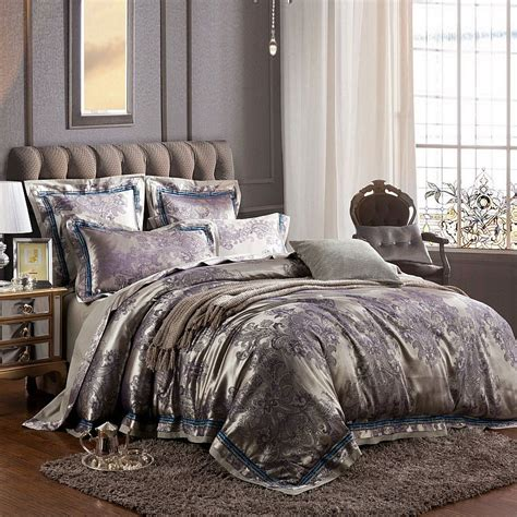 grey and purple paisley traditional western royal pattern shabby chic full queen size bedding