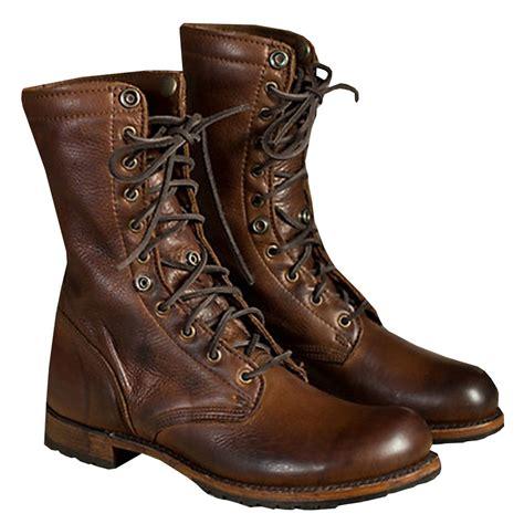 Winter Vintage Boots motorcycle boots vintage combat boot winter fur 2017