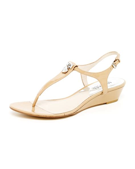 michael kors patent leather sandals michael kors hamilton patent leather sandal in beige
