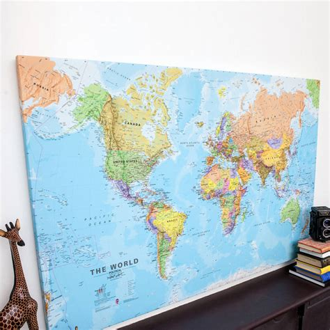 world map canvas world canvas map print by maps international notonthehighstreet