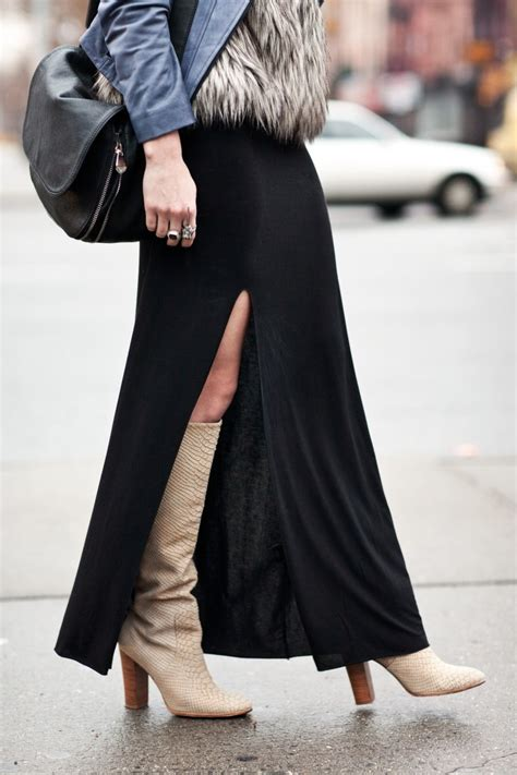 knee high boots and a slit skirt m a x i