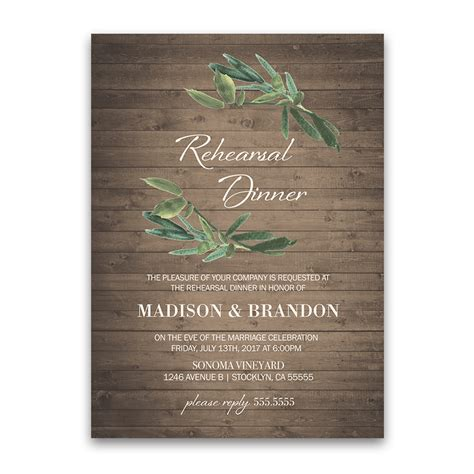 wedding dinner invitations rustic wedding rehearsal dinner invitation with greenery