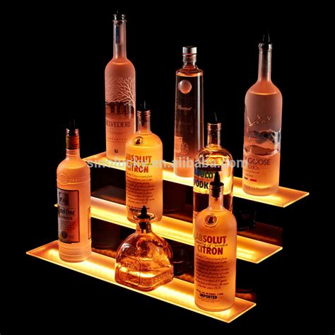 2 Tier Led Liquor Shelf Display Led Illuminated Acrylic