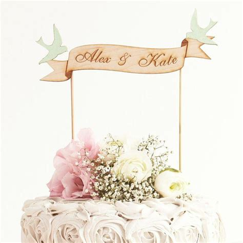 Wedding Banner Cake Topper by Custom Banner Wedding Cake Topper In Birch Mint Birds