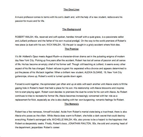 screenplay template word screenplay outline template 7 free sle exle