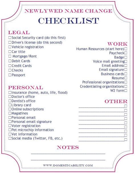 Wedding Name Change by Domesticability Name Change Checklist Printable