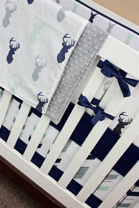 Deer Themed Crib Bedding Mint Navy Deer Crib Bedding Boy Woodland Nursery Baby Bedding Navy Mint And Gray Buck Antler