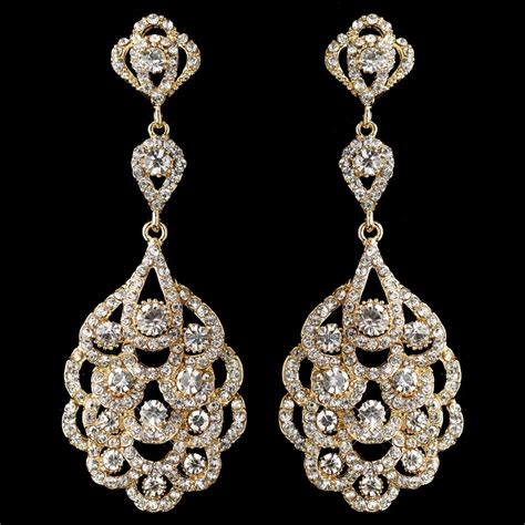 rhinestone earrings light gold clear rhinestone chandelier bridal wedding