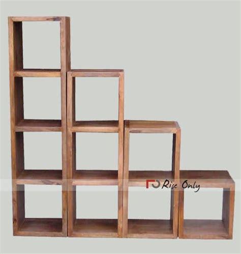 how to a cube bookcase wooden detachable sheesham wood cube bookshelf bluewave