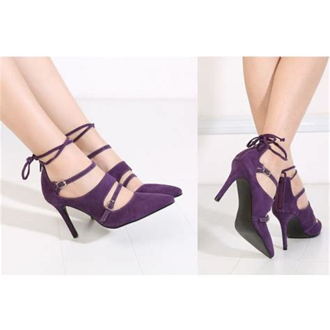 Strappy Pointy Pumps purple strappy heels buckles pointy toe suede pumps