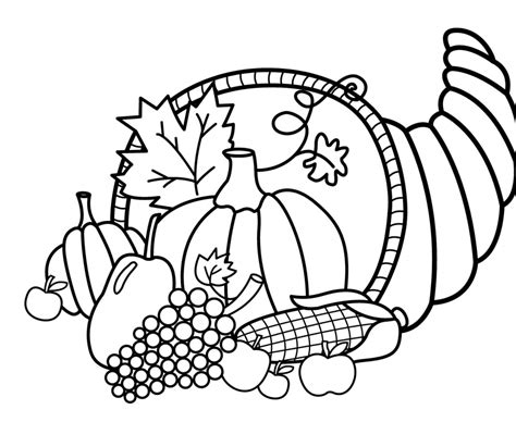 coloring page of cornucopia for thanksgiving 40 printable thanksgiving coloring pages