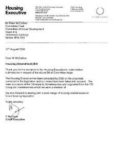 Housing Certification Letter Northern Ireland Assembly Committee For Social Development