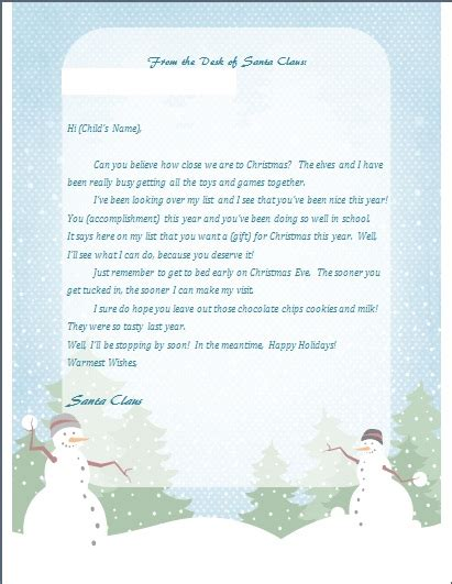 printable return letter from santa printable letter from santa