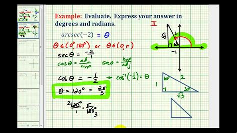 calculator arccos ex evaluate inverse secant without a calculator youtube