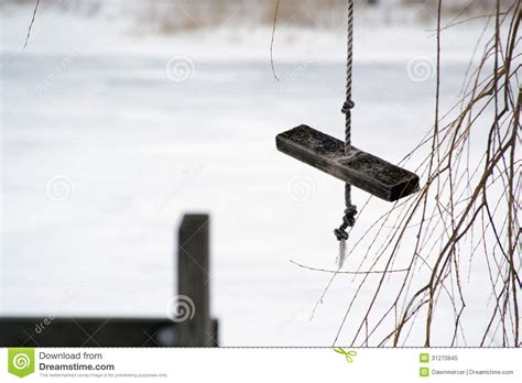 homemade swing seat wooden swing on rope stock image image of cold hobby