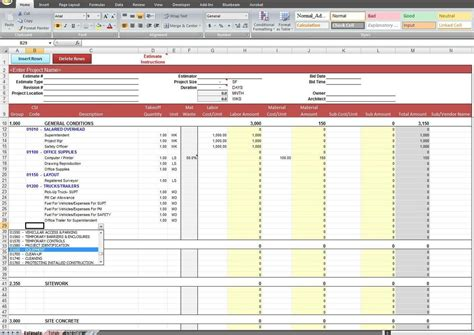 construction estimate construction estimating spreadsheet template spreadsheets
