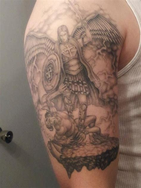 st michael sleeve tattoo designs st michael tats tattoos and