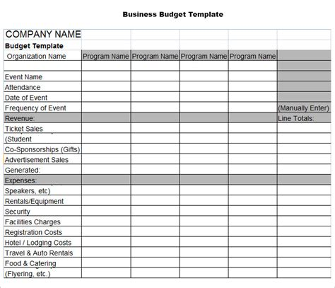 company budget template free company budget templates excel best photos of