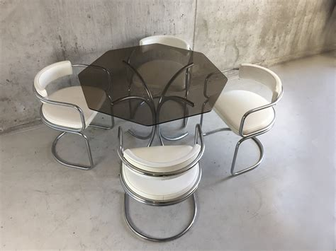 hexagonal dining table and chairs 1970 s mid century dining set with hexagonal glass table