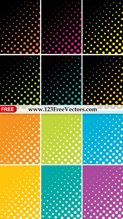 dot pattern vector pack colorful halftone dots background vector pack by