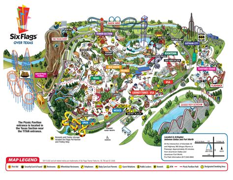 six flags texas park map sixflags texas park map