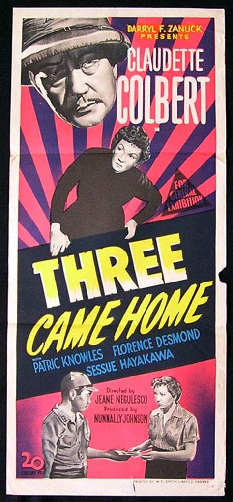 three came home 50 claudette colbert poster