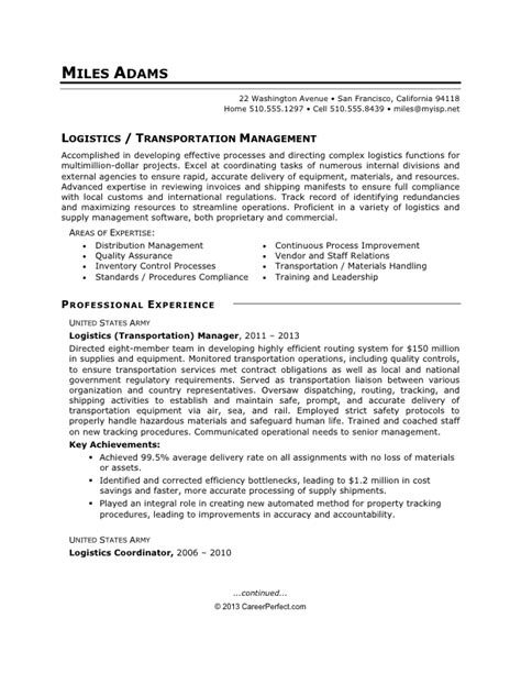 to civilian conversion logistics sle resume