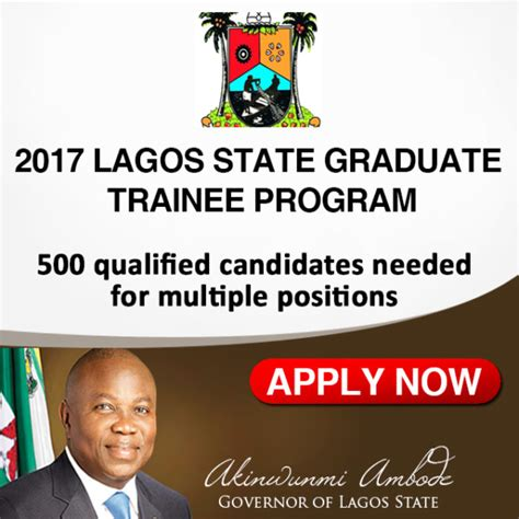 Governors State Mba Admission Requirements by Lagos State Government Graduate Trainee Programme 2017