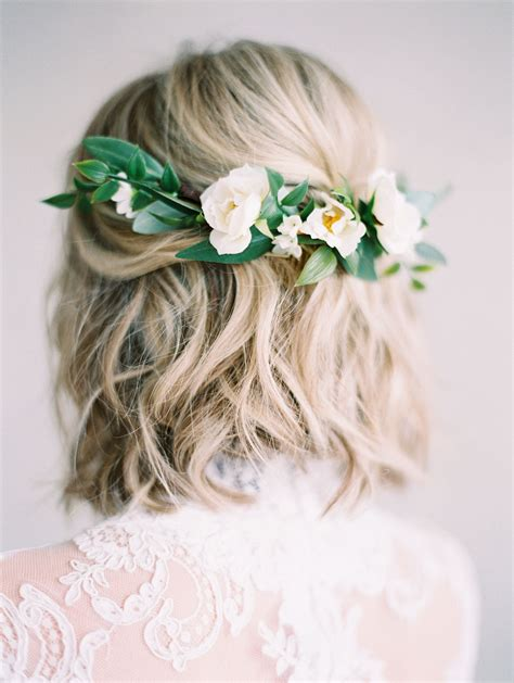 a gold sprayed flower crown wedding hairstyles photos ester floral comb created with eucalyptus and olive leaves